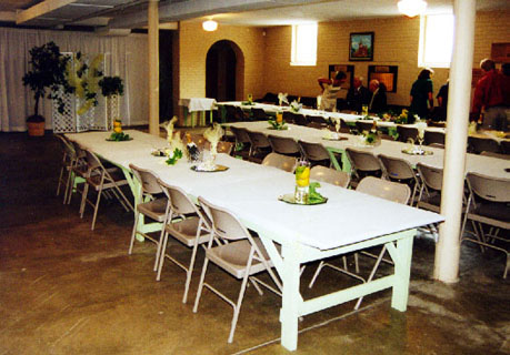 rectangular tables setup in the Reception Hall