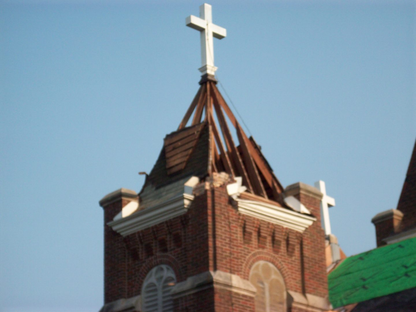 Damaged Cap has been removed from north steeple
