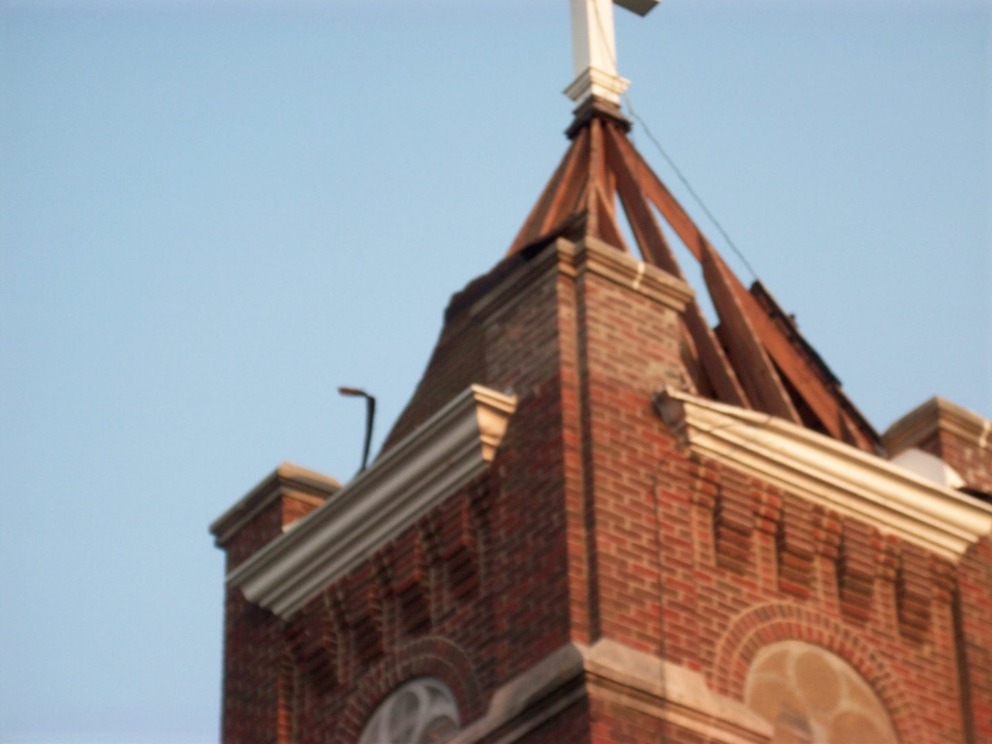 North steeple cap repaired