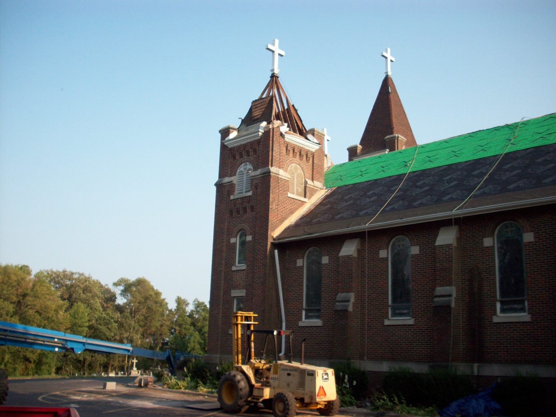 North steeple had rafter damage